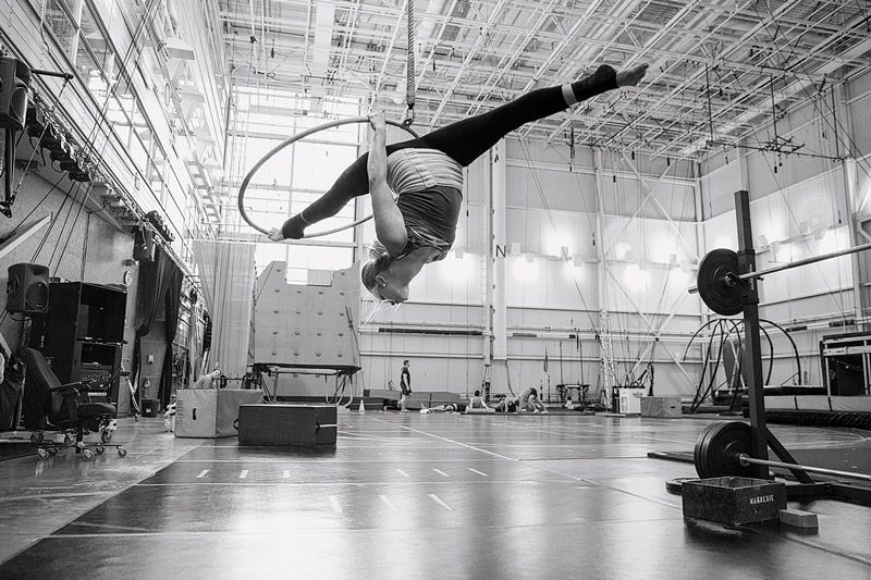 Performer at Cirque's rehearsal space
